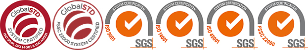 ISO 9001, ISO 14001, ISO 45001 and FSSC 22000 logos of corvaglia